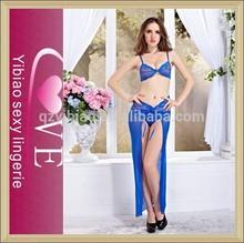 nueva llegada de gasa transparente vestido de noche de encaje azul honda sujetador sexy vestido largo para las damas elegantes