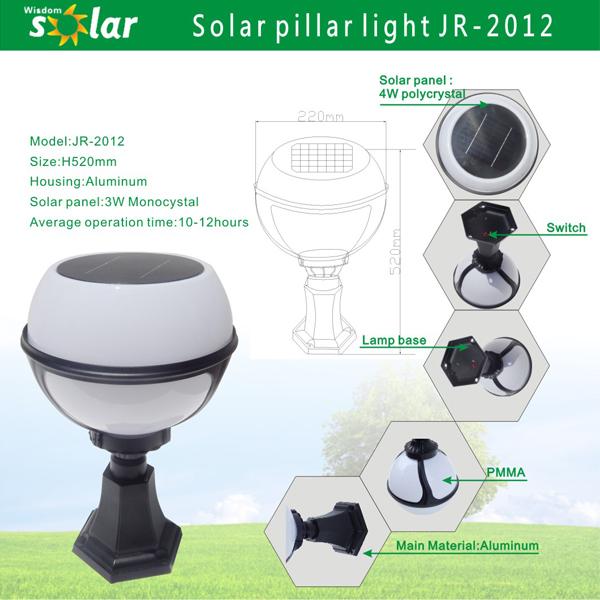 Welhome Bollard Light Garden Pedestal Led Solar Lamps: Exterior Solar Baliza LED Luz De Jardín De La Lámpara De