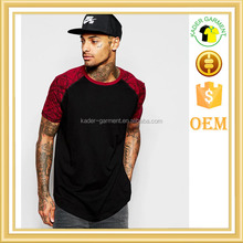Longline T-Shirt With Printed Raglan Sleeves And Curved Hem In Relaxed Skater Fit