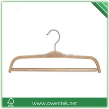 wholesale non slip rubber coated laminated pants hanger, wooden bottom hanger
