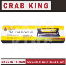 "CRAB KING Professional Tools 1/2"" Drive 17 pieces Socket Wrench Set"