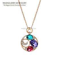 Neoglory Beautiful Rose Gold Plated Austria Rhinestone Multi Crystal Pendant & Necklaces 2015 New Design