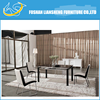 MODERN WHITE HIGH GLOSSY BOTTOM BOARD DINING TABLE WITH SANDY BLACK POWDER COATING LEGS(LARGE SIZE)