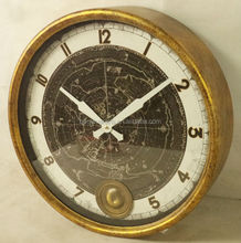 Antique gold leaf wall clock with pendulum
