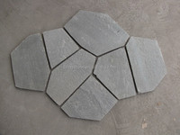 Cheap natural slate flagstone with mesh for flooring