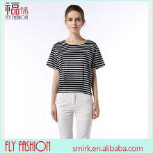 YBT6002# Bat sleeve striped t shirt round neck wholesale short sleeve cotton tops new fashion ladies' t-shirt