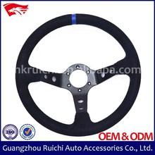 14 inch 350mm Suede 3 Brushed Spoke Suede Sport Steering Wheels
