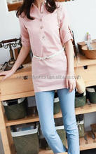 Summer Puff Sleeve Design Size S-2XL Button Decorate Fashion Lady Shirt