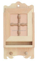 wooden wall hanging key storage box with slip lid suitable for wall decoration
