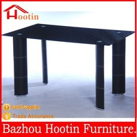 2015 most popular glass top and leather cover dining table for dining room furniture
