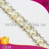 Wholesale fashion pearl rhinestone trim for party dress WRC05