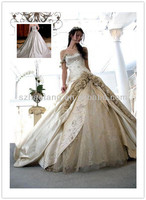 HT32 Luxurious A Line Sweetheart yellow and white satin lace long dress Cathedral train wedding dress 2014
