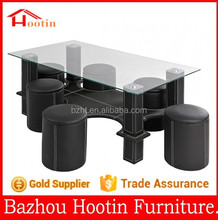 2015 high quality glass top and leather cover base coffee table for living room furniture