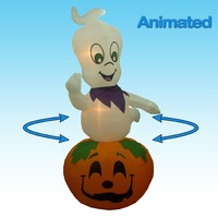 Animated Halloween Inflatable Rotating Ghost On Pumpkin - 9 ft