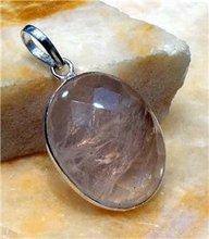 Rose Quartz Gemstone 925 Silver Pendant 24mm P770
