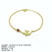 BXA-0962 925 Silver Jewelry Sterling Silver Bracelet Plain Bird Charm with Red Agate Bead