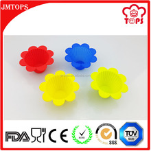 Food Grade BPA Free Non Stick Colored Mini Flowerpot Silicone Cupcake Molds/ Flower Shape Silicone Baking Cups in Various Colors