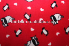 Red Base With Printed lovely Penguin Micro Fleece 100%polyester 75D\144F 150*165