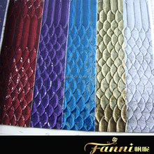 patent snake skin pu leather for bag/snake skin synthetic leather for bag