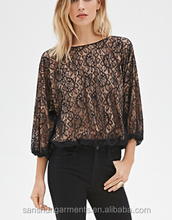 Rose Lace Table Overlays Blouse Ladies Top