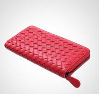 Wholesale Sheepskin leather Woven pattern Lady Clutch/Purse For Women leather wallets