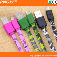 wholesale army green micro usb data cable for samsung mobile phone