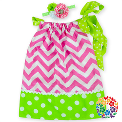 newest designs baby dress pink chevron pillowcase dress casual baby dresses with matched headband