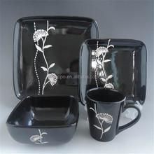 customized ceramic black square plate nice design
