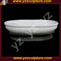classical modern free standing pure white marble oval bathtub