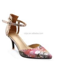 2015 summer hollow out rose red prints buckle strap high heel women sandals elegent pumps dress shoes