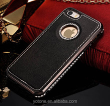 2015 hot selling bulk items metal bumper pu leather cell phone back case for iphone 5 5s