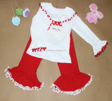 Factory fast delivery Christmas festival wholesale ruffle outfits cute baby satan children outfits with mini pompom trimming