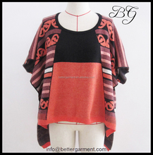 Fashion short front and long back models wool sweater poncho BG151079 , wholesale winter ponchos for women