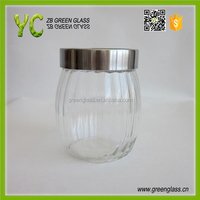 700ml glass canister with metal lid