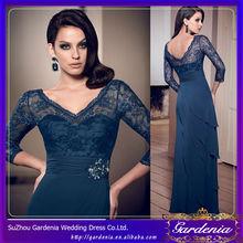 Um- linha azul marinho v- pescoço chiffon camada exclusivos vestidos de noite três quarto comprimento