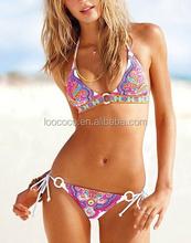 Factory Custom Wholesale Folk Print Strappy Swimwear Bikini and Beach Shorts