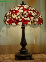Factory supply for 18 inch tiffany style table lamp European maple leaf design for friends