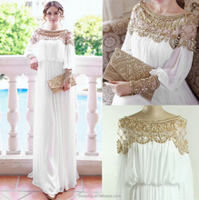 2015 Floor length heavy beaded special occasion long sleeve formal chiffon evening dress BY5200