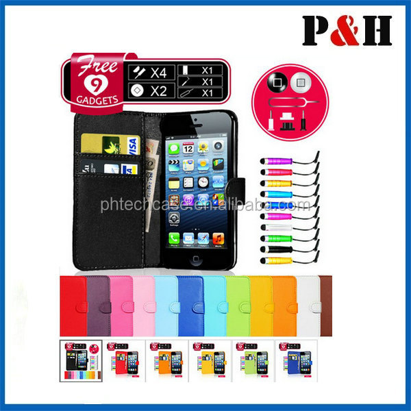 Detachable wallet leather flip case,handset case cover for apple iphone 5/5s