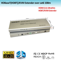 HDBaseT(HDBT)/KVM Extender over cat6 100m Support mouse and keyboard control extender, with POE, HDMI 2.0 extender