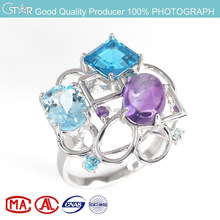 mirror polished white rhodium fashion sterling silver jewelry ring with stock