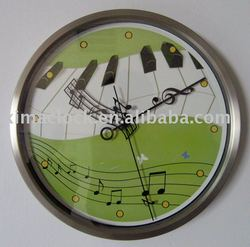 New Color Printing Stainless Steel Wall Clock Metal Clock Piano Music Design