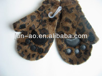 long fur children gloves with fake feather