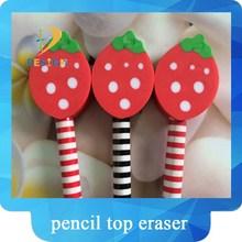 Wacky design stationery strawberry shaped pencil top eraser