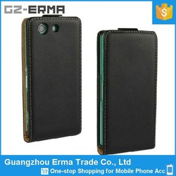 Wholesale Factory Price Black Cell Phone Case PU Slim Leather Case for Sony Xperia Z3 Compact