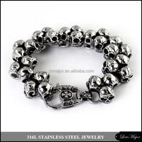 heavy metal men's stainless steel skull bracelet of fashion steel jewelry
