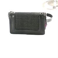2015 straw fabric bag fashion women's leather mini chain shoulder bag purse cross body bag