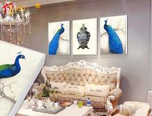 Modern House Wall Art Canvas Print Decorative Beautiful Peacock Painting