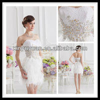 Real Sample White Sweetheart Sheath Ostrich Feather Applique Beaded Sequin Cocktail Dress xyy07-083