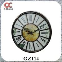 Wholesale Antique Brass Finish Metal Roma Style Large Wall Clock